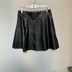Faux Leather Black Skater Skirt ⚡️